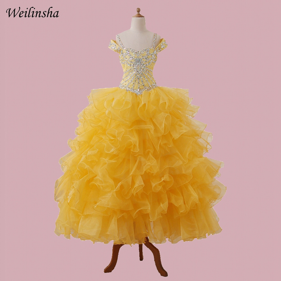 Weilinsha Ball Gown Organza Kids Pageant   Dresses   Off shoulder Beaded Sequins   Flower     Girls     Dress     Girl   Birthday Party   Dress