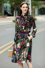 2017 summer floral print shirt pleated skirts fashion woman's bowknot full sleeve blouse dress sets S-XL size