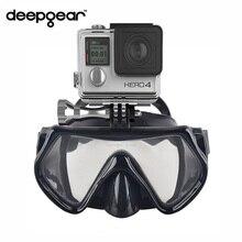 Deepgear Gopro камеры дайвинг маска Закаленное стекло дайвинг маска черная силиконовая трубка маска для взрослых Топ дайвинг снаряжение для сноркелинга