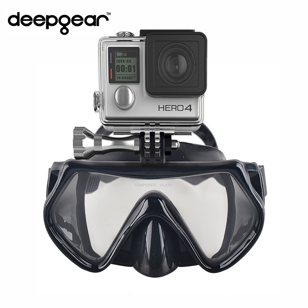 Deepgear Gopro camera diving mask Tempered glass scuba diving mask black silicone snorkel mask for adult Top diving snorkel gear