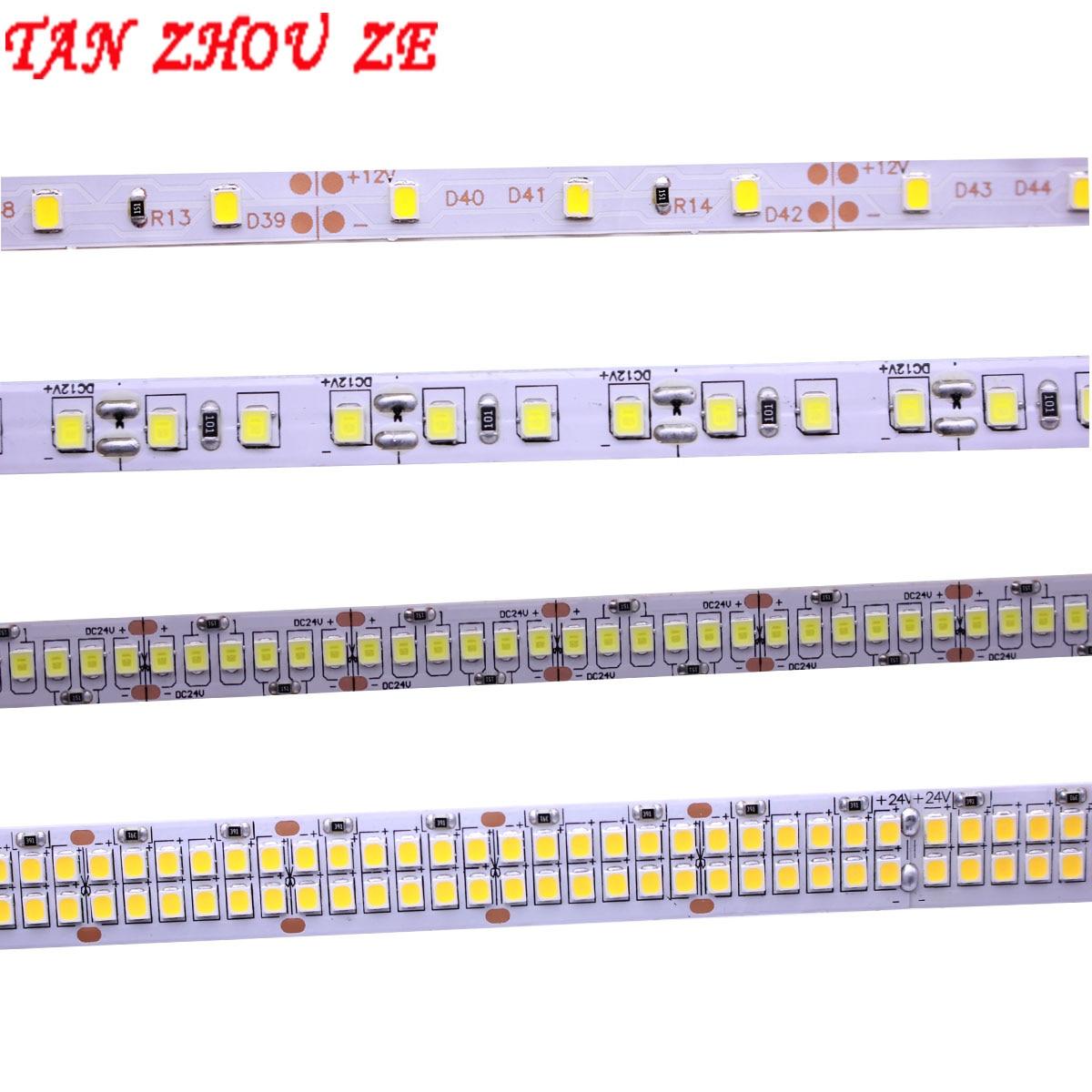 Tira de led, alto brilhante, flexível, 2835 smd, 240leds/m, 5m, 300/600/1200 leds, dc12v fita de fita luz branco quente/frio