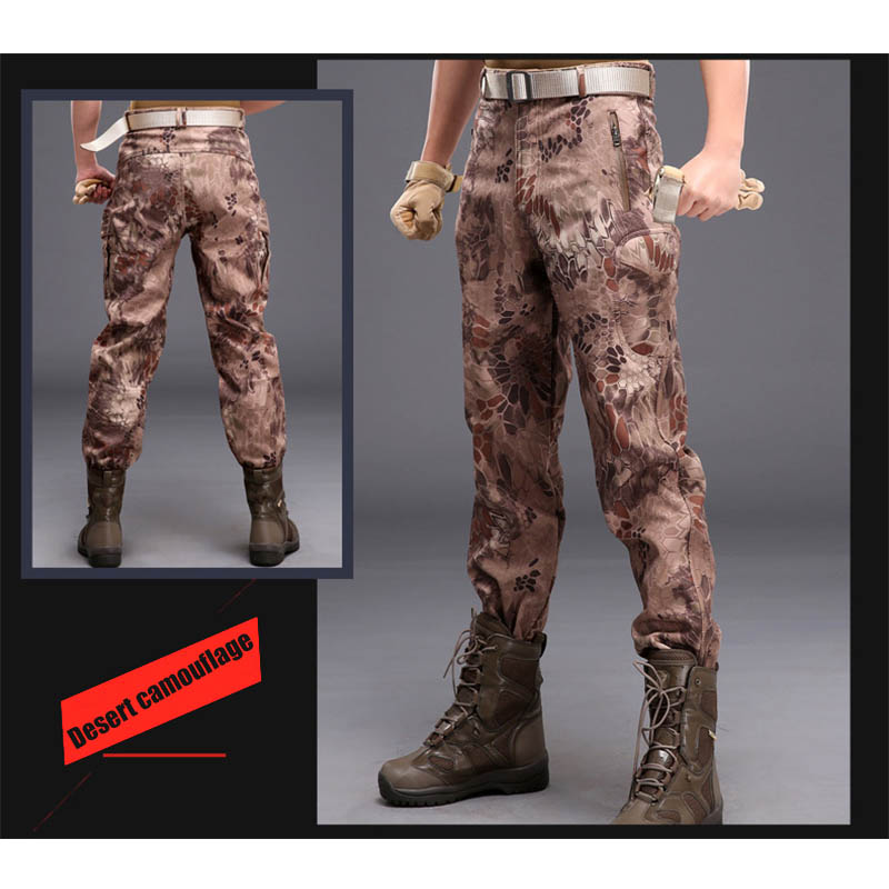 Mens Shark Skin Soft Shell Outdoors Tactical Military Camouflage Pants Men Waterproof Windproof Thermal Camo Hunt Fleece Pants in Hiking Pants from Sports Entertainment