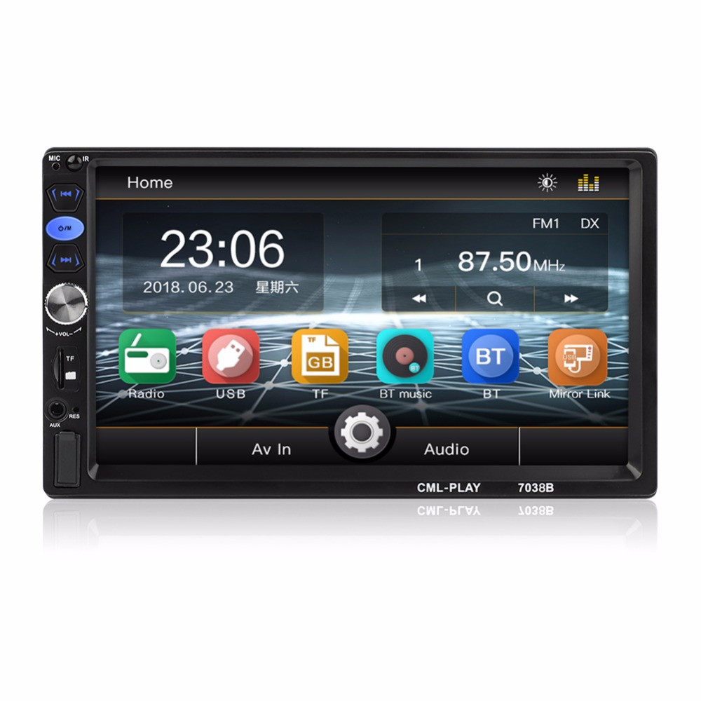2 Din Car Radio 7 HD Touch Screen Audio Stereo Bluetooth Video MP5 Multimedia Player Car