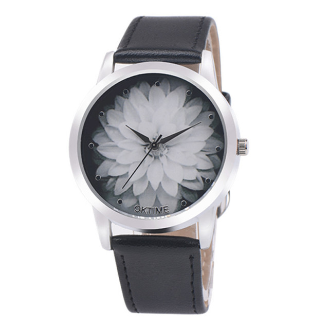 Brand OKTIME Fashion Flower Printed Watches Women Crystal Analog Quartz Wristwat