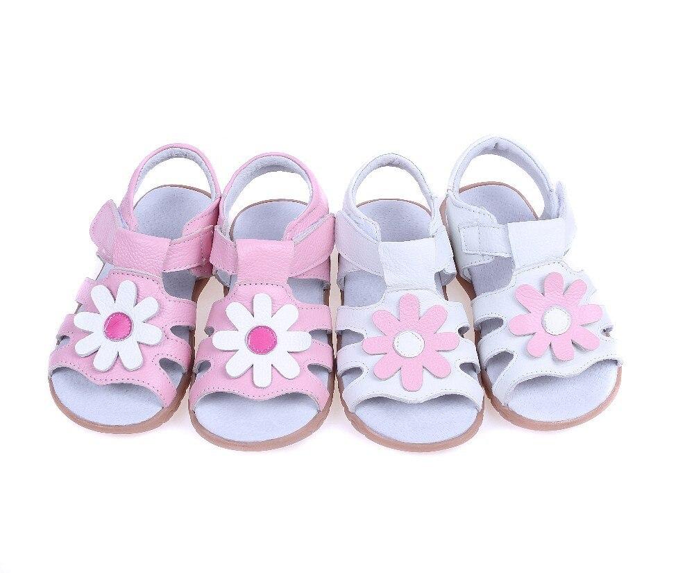 2017 חדש עור אמיתי בנות סנדלים בקיץ ווקר נעליים עם פרחים antislip הבלעדי ילדים פעוט מגזין סנדל 12.3-18.3