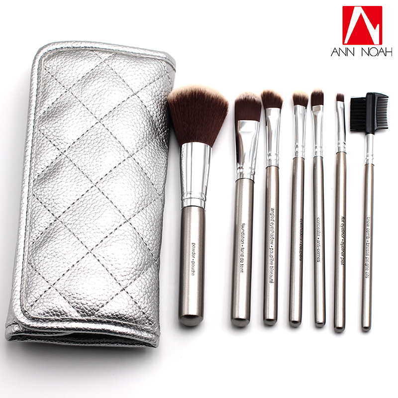 7pcs professional silver Plated round wooden handle Foundation Concealer Eye shadow Blush Makeup brush professional new silver plated trumpet bb keys with monel valves horn case
