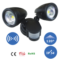 2xDual Security Detector LED Spot Light Motion Sensor Outdoor Wall Mounting COB Floodlight
