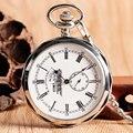 Античный Стиль Серебряный Рука Обмотки Открытым Лицом Ретро Механическая Мужчины Карманные Часы Сеть Римские цифры Старинные Специальная Конструкция Подарок