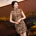 TIC-TEC chinese cheongsam short qipao women brown lace embroidery slim tradicional Classic party oriental dresses clothes P3101