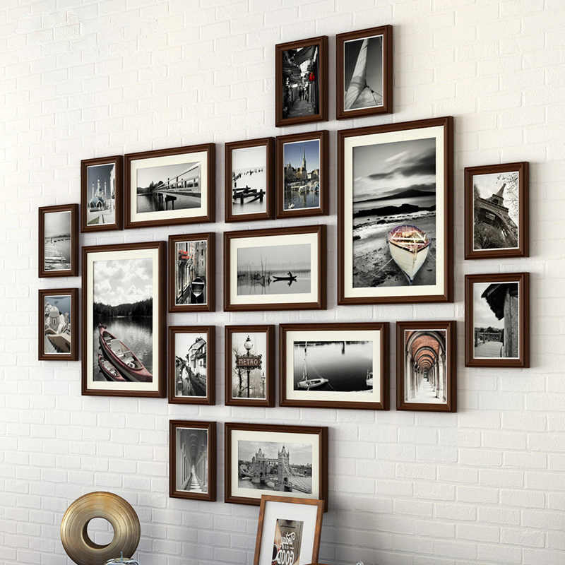 Modern wooden hanging photo frame 20 pcs/set Creative combination home photo frame wedding picture frame /painting frames