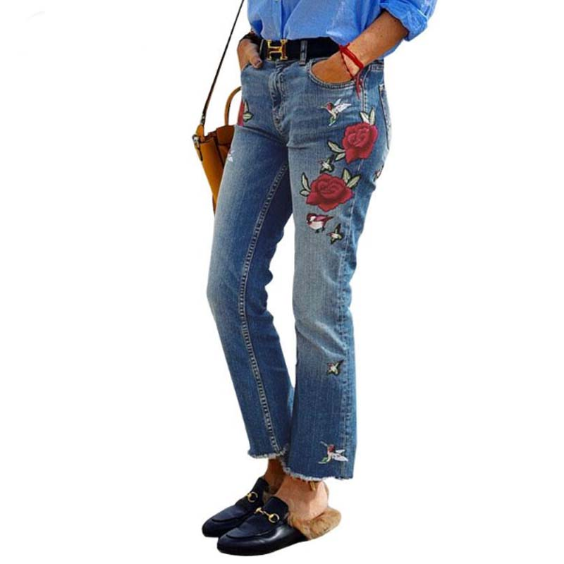 Vintage embroidery jeans female 2016 autumn winter Tassel fringe flare casual pants capris Pockets jeans women bottom flower embroidery jeans female blue casual pants capris 2017 spring summer pockets straight jeans women bottom a46