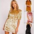 Mulheres Vestido de veludo 2016 Outono Estilo Moda Mini Vestido de Manga Curta Em Torno Do Pescoço Pulôver Lazer Vestidos Preto Rosa de Ouro Amarelo