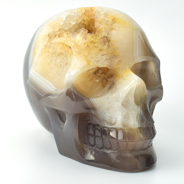 5.5'' Natural Banded Agate Geode Hand Carved Quartz Crystal Skull Figurine Realistic Healing Crystal Skull Sculpture Home Decor