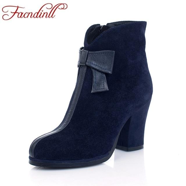 FACNDINLL chaussures 2018 nouvelle mode en cuir véritable femmes automne  hiver cheville bottes talons hauts zipper
