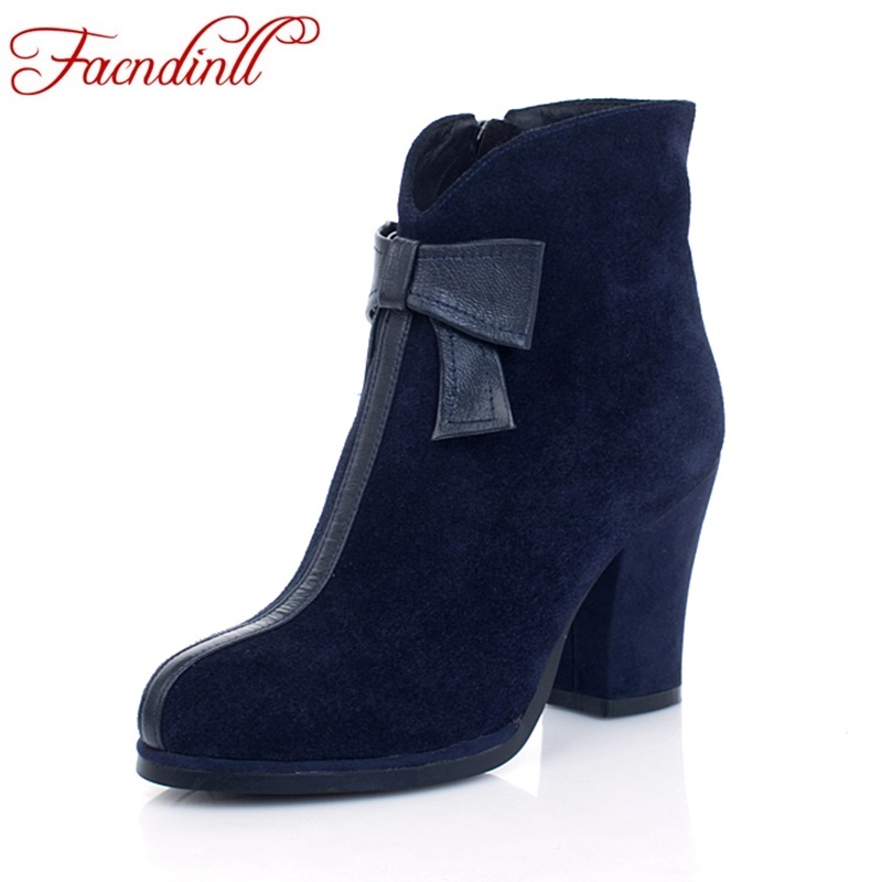 FACNDINLL shoes 2017 new fashion genuine leather women autumn winter ankle boots high heels zipper black blue women dress boots facndinll genuine leather sandals for