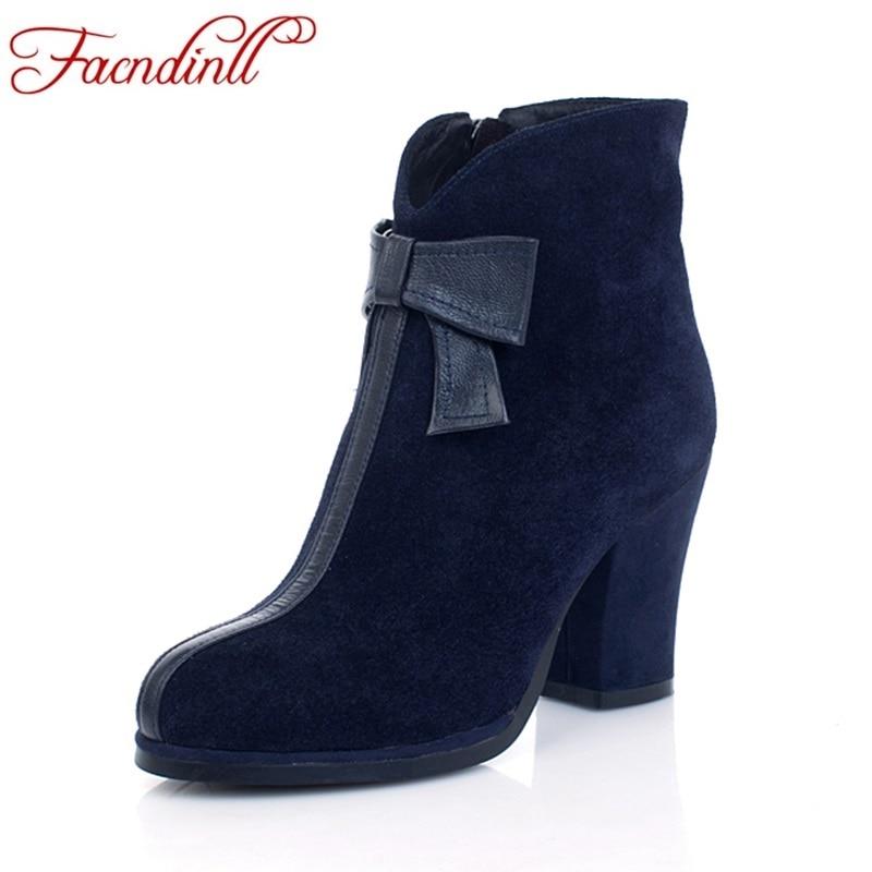 FACNDINLL shoes 2018 new fashion genuine leather women autumn winter ankle boots high heels zipper black blue women dress boots все цены