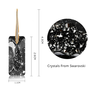 Image 4 - Black Crystals From Swarovski Elements Gold Color Drop Earrings For Women Party Vintage Rectangle Pendant Statement Jewelry Gift