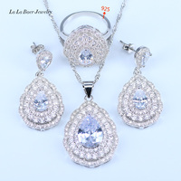 L B Australia White Crystal White Rhinestone 925 Sterling Silver Jewelry Sets For Women Wedding Party