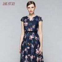 Джейн история Лето Для женщин открытое кружевное платье с коротким рукавом Круглая горловина цветочный принт тонкий элегантный офис леди п