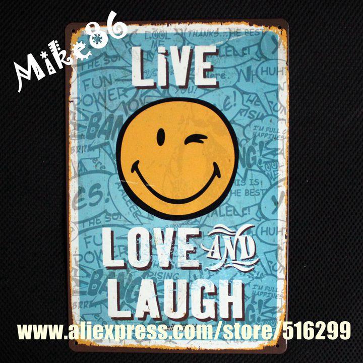 Vintage Home Decor Online Stores: Aliexpress.com : Buy [ Mike86 ] Size Live Smile Vintage