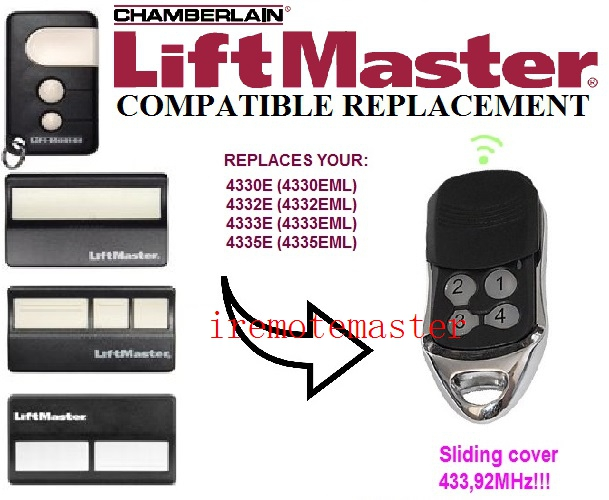 The remote replace for Liftmaster Chamberlain 4335E 4330E 4332E Garage Opener