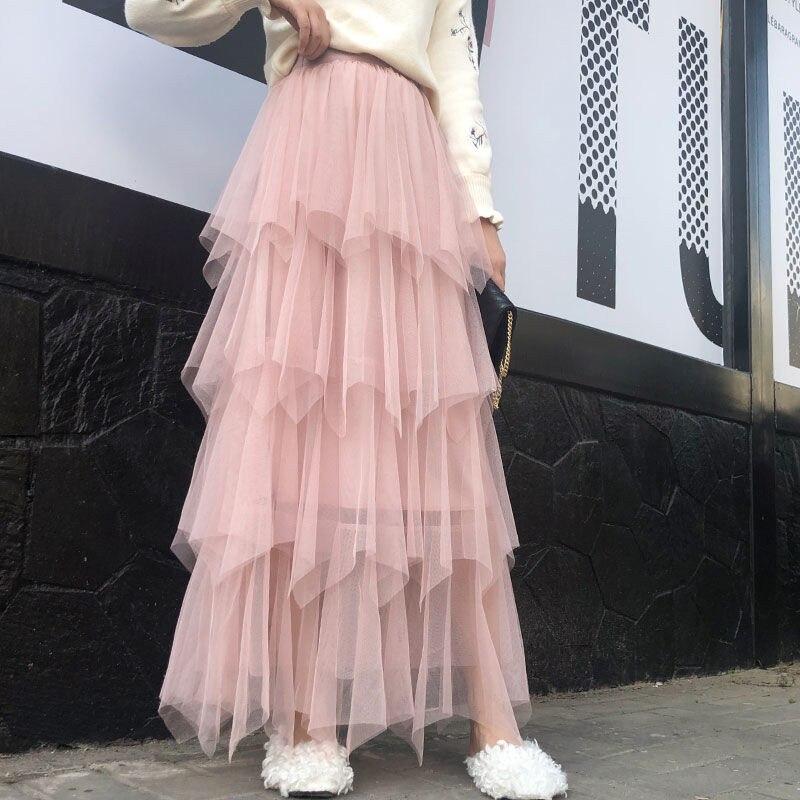 Cake Skirt Skirt In The Long Veil Skirt Female Spring And Summer Students Irregular Fairy Mesh Skirt