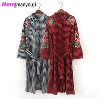 Autumn Women Cotton Shirt Dress Red Black Plaid Flower Embroidery Turn Down Collar Long Sleeve Vintage