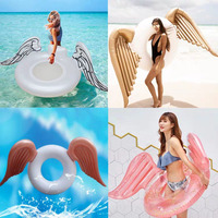 Angel Shiny Wing Sequin Inflatable Float 180cm Swim Ring Hawaii Summer Beach Party Decoration Pool Toy Float Mattress Gift Adult