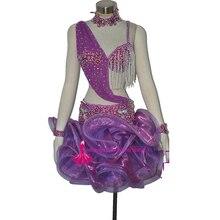Purple Latin Dress High Quality Customized Rumba Tango Samba Cha cha Latin Competition Dancing Skirt Women