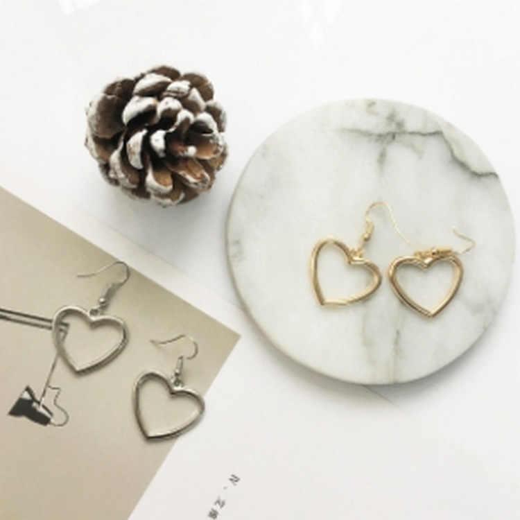 Nova Geometria Oco Brincos Coração Doce Amor Ouro Brincos Mulheres Presentes Jóias Brincos Pendientes Orecchini Oorbellen