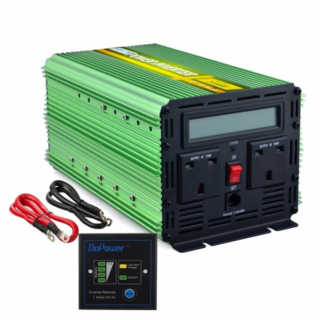 EDECOA modified sive wave power inverter free shipping DC 12V 24V AC 240V 2000W 4000W peak converter with LCD display