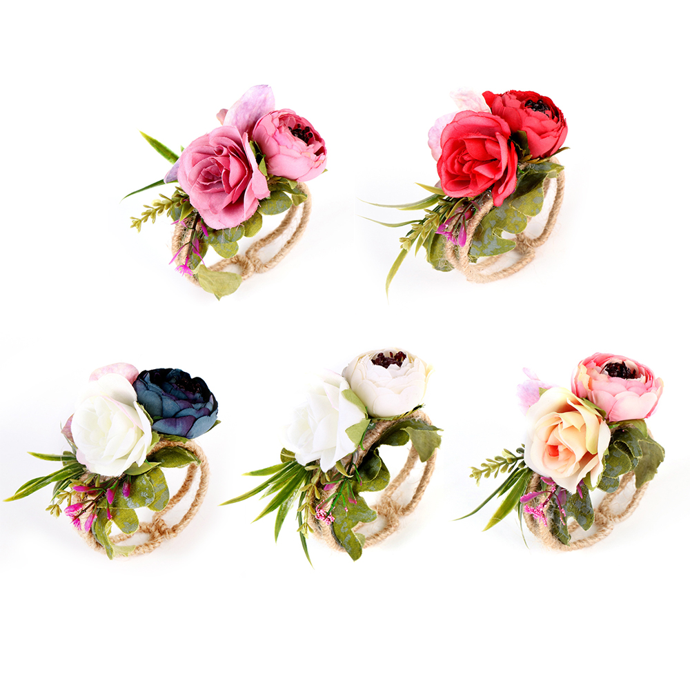 Flower For Wedding Bridesmaid Bride Wrist Corsage Woodland Corsage Woven Straw Cuff Bracelet For Wedding Prom Accessories