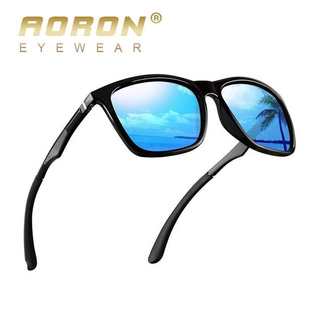 ef4d75e394 Gafas de sol polarizadas AORON hombres y mujeres gafas de sol de moda para  hombres de marca de diseñador de gafas de sol cuadradas de aluminio