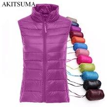 90% white duck down women vest winter Ultra Light Duck Down Vest sleeveless Jacket waistcoat autumn red black vest AKITSUMA