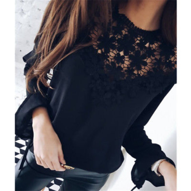 57a5fd4779e0cb New Arrival 2018 Women Blouses Chiffon Lace Shirts O-neck Summer Long Sleeve  chemise femme vintage Shirt Tops Solid Fashion