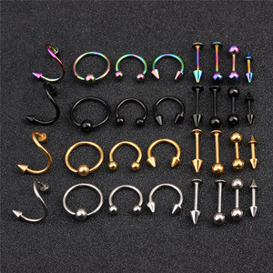 16pcs Spiral fake Nose Rings Earring Stud septum Piercing for Women Men Fashion Pircing Nariz Piercing earring(China)
