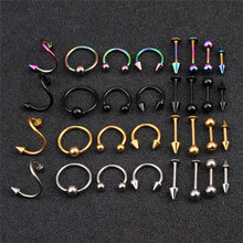 LINSOIR 16pcs Stainless Steel Spiral Nose Rings Earring Stud Tragus font b Piercing b font for