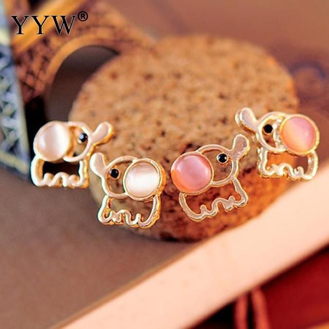 Women Men Gold Elephant Stud Earrings White Pink Rhinestone Cat Eye Stone Opal Earring Ear Jewelry