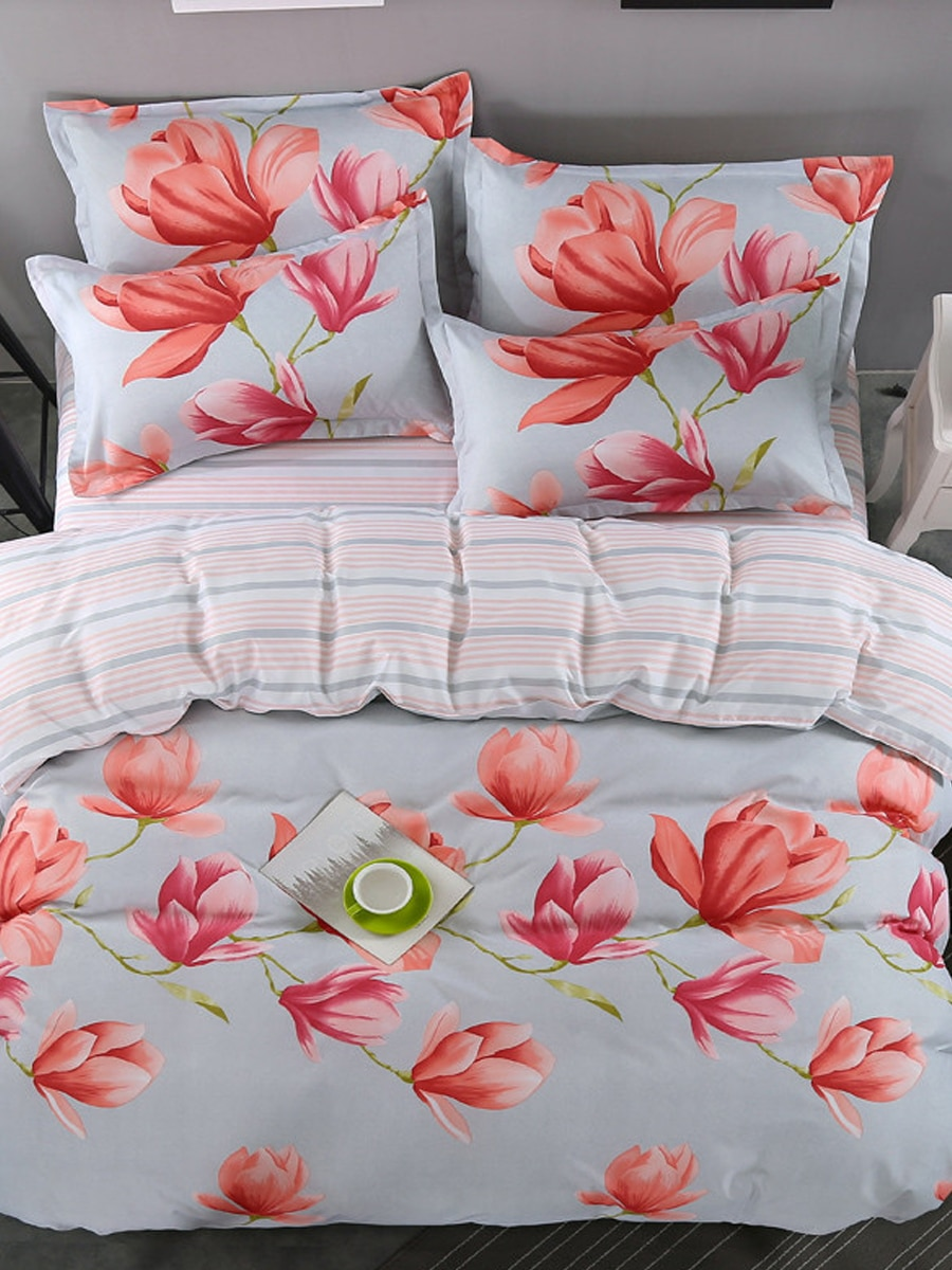 3/4Pcs Duvet Cover Set Simple Modern Flower Pattern Skin-Friendly Bedding Set 3/4Pcs Duvet Cover Set Simple Modern Flower Pattern Skin-Friendly Bedding Set
