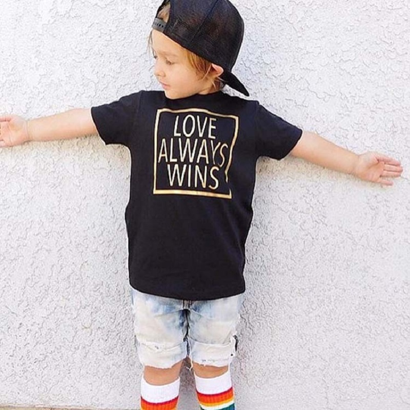 Black Love Always Wins Print Baby Boys T-Shirt Infant Tee Shirts Cotton Toddler Tops Girl T Shirt Children Clothes Outfits Hot