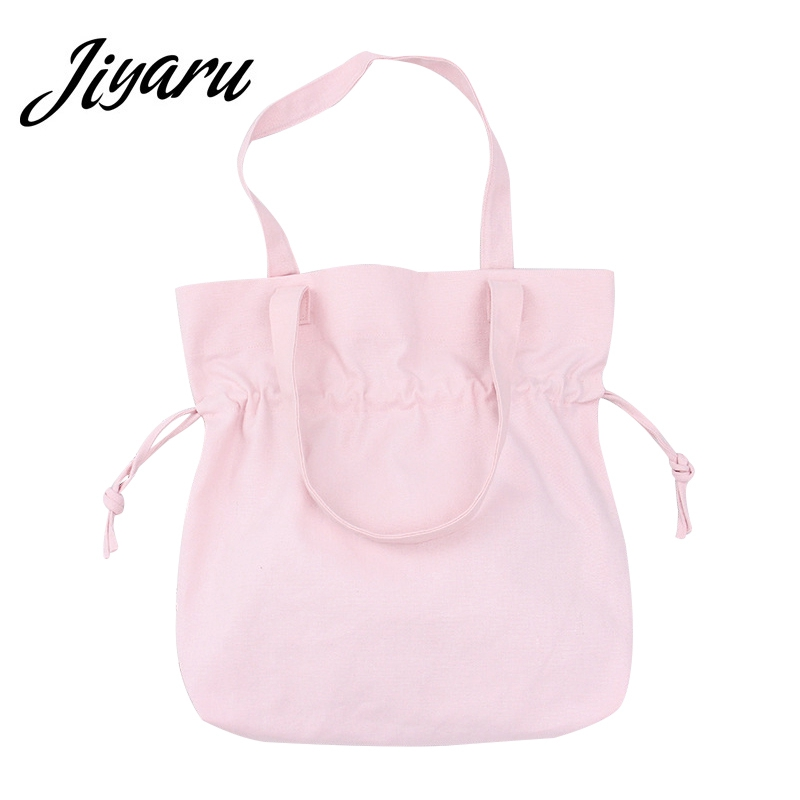 Korean Shopping Bag Canvas Reusable Portable Folding Light shopping Bag Large Tote Handbags Women Eco Shopping Shoulder Bags