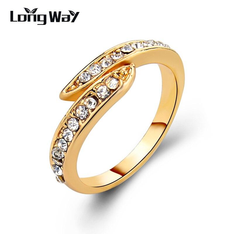Frank Longway Luxus Ringe Für Frauen Mode Hochzeit Schmuck Gold Farbe Ringe Kristall Blatt Ring Engagement Zubehör Sri150014 Verlobungsringe