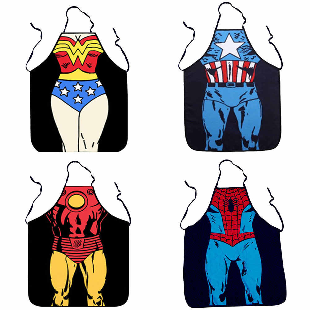 10 Colors Funny Sexy Aprons For Woman Man Printed Superhero Superman Captain America Waist Baking Barista BBQ Kitchen Aprons
