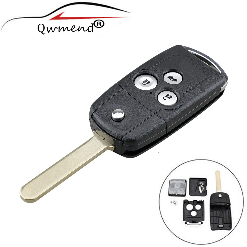 QWMEND 3 Buttons Car <font><b>Remote</b></font> <font><b>Flip</b></font> Key Fob Case Shell Upgrade For <font><b>Honda</b></font> for Civic for <font><b>Accord</b></font> Jazz CRV Car key shell image