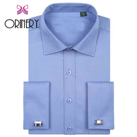 ORINERY Size S 5XL Hot Sale Solid Mens Dress Shirt Long Sleeve French Cuff with Cufflinks Designer Wedding Dress Brand Clothing
