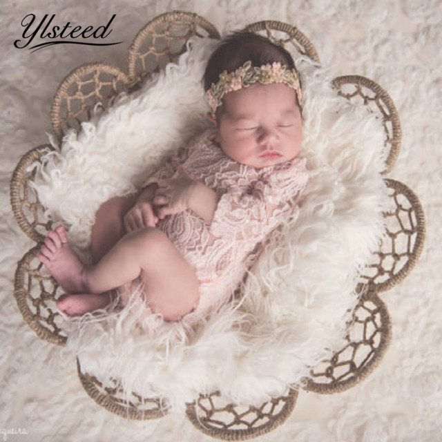 Newborn photography props baby long sleeve low back stretch lace romper infant bowknot jumpsuit baby boy