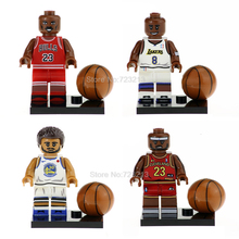 4 pçs/set Jogador de Basquete Figura Set Michael Stephen Modelo kits de Blocos de Construção de Tijolos Brinquedos para As Crianças