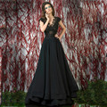 black evening gown 2017 A-Line Cap Sleeve V-Neck Chiffon Applique Beading Backless Sweep Train Prom Dresses Hot Sale Party Gowns