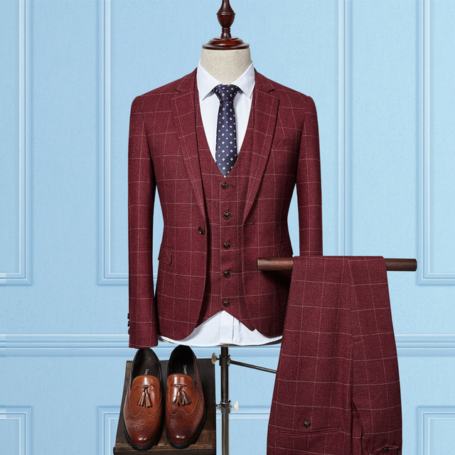 3 Piece Slim Fit Tweed Red Plaid Wedding Suit for Men Classic ...