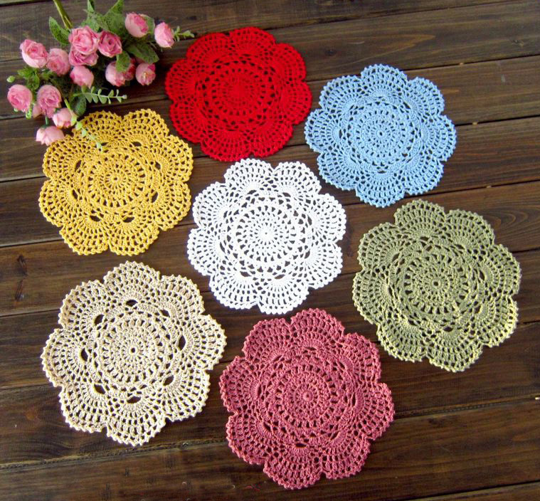 Knitted Crochet Placemats Handmade For Table Set Doilies Cup Pads